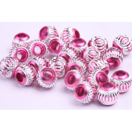 Korálek kovový růžový (10 mm)