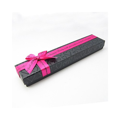 Dárková krabička na náramek s růžovou mašlí