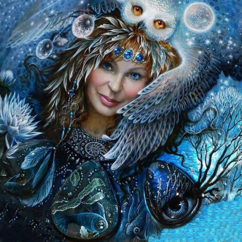 Diamond painting - Owl and woman No.48