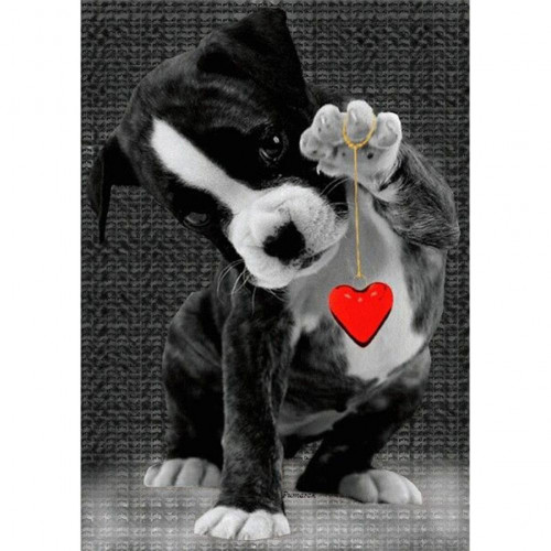 Diamond painting - Puppy with heart No.69