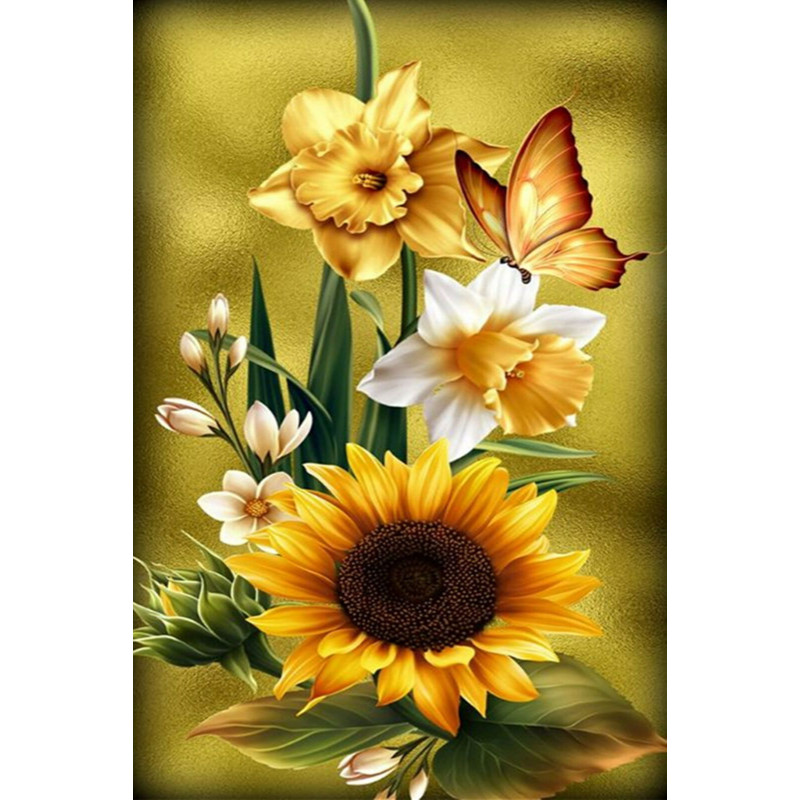 Diamond painting - Flowers with butterfly No.155