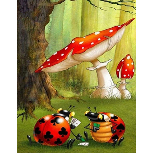 Diamond painting - Ladybugs and toadstools No.157