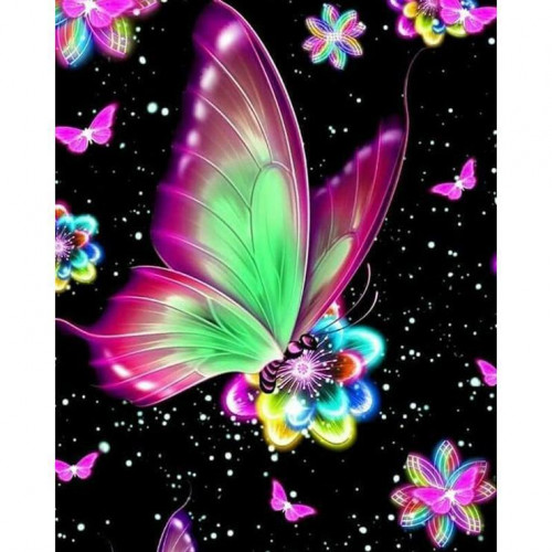 Diamond painting - Butterfly with flowers No.177
