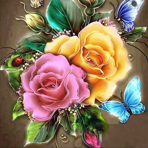 Diamond painting - Rose flowers with butterflies No.181