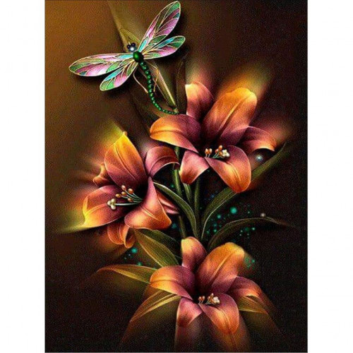 Diamond painting - Dragonfly and flowers No.190