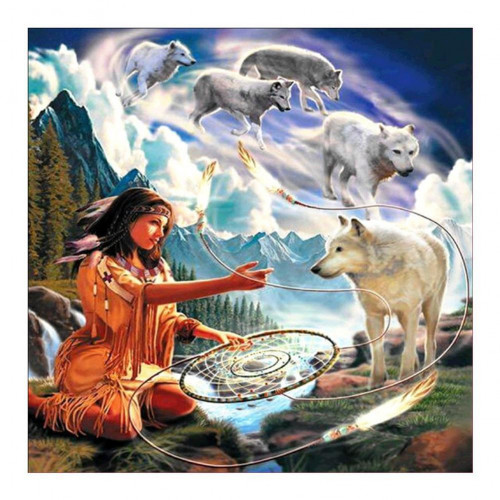 Diamond painting - Indian woman with wolves No.260