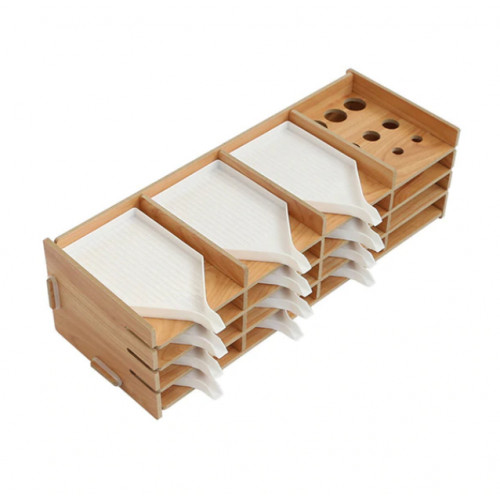 Wooden organizer with bowls