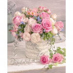 Diamond painting - Flowers in a vase with music notes No. 506
