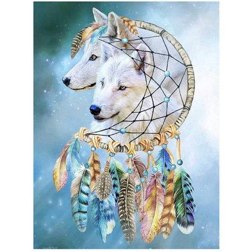 Diamond painting - Dream catcher with wolves No. 507